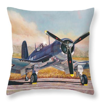 Airshow Corsair Throw Pillow