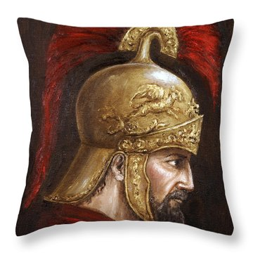 Throw Pillow featuring the painting Ajax by Arturas Slapsys