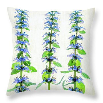 Ajuga Blooms Throw Pillow