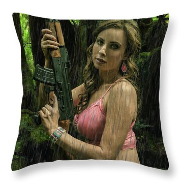Ak47 In The Rain Throw Pillow