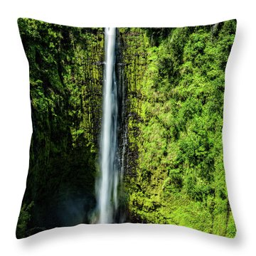 Akaka Falls With Rainbow Throw Pillow