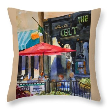 Al Fresco At The Celt Throw Pillow by Ron Stephens
