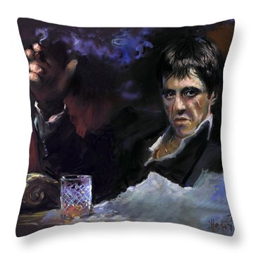 Al Pacino Snow Throw Pillow by Ylli Haruni