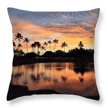 Ala Moana Sunset Throw Pillow by DJ Florek