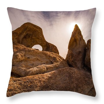 Alabama Hills Backlit Rocks Throw Pillow