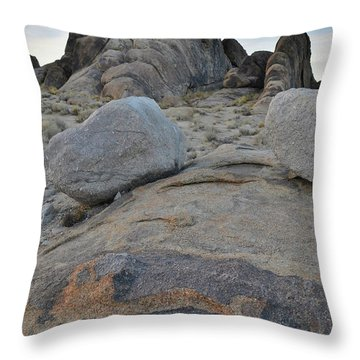 Throw Pillow featuring the photograph Alabama Hills Boulders At Dusk by Ray Mathis