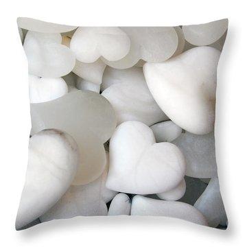 Alabaster Hearts Throw Pillow