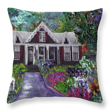 Throw Pillow featuring the painting Alameda 1854 Gothic Revival - The Webster House by Linda Weinstock