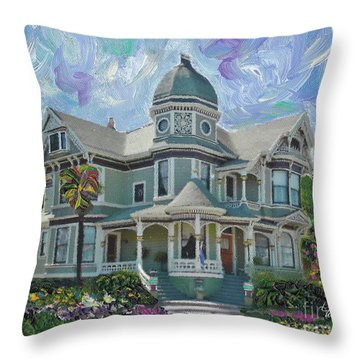 Alameda 1893  Queen Anne  Throw Pillow by Linda Weinstock