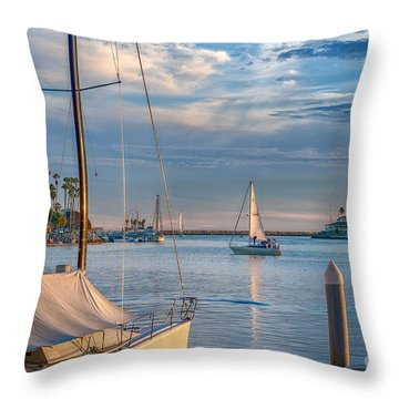 Alamitos Bay Inlet Sailboat Throw Pillow by David Zanzinger