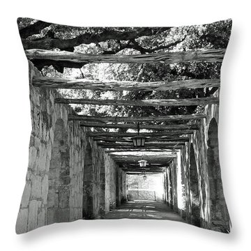Alamo Corridor Throw Pillow by Debbie Karnes