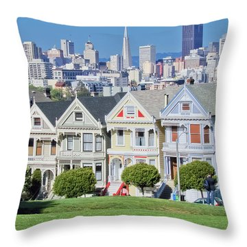 Throw Pillow featuring the photograph Alamo Square by Matthew Bamberg