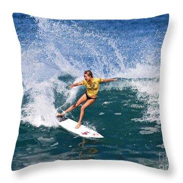 Alana Blanchard Surfing Hawaii Throw Pillow