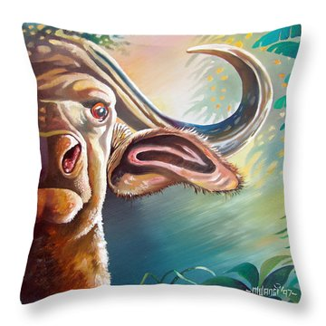Throw Pillow featuring the painting Alarmed by Anthony Mwangi