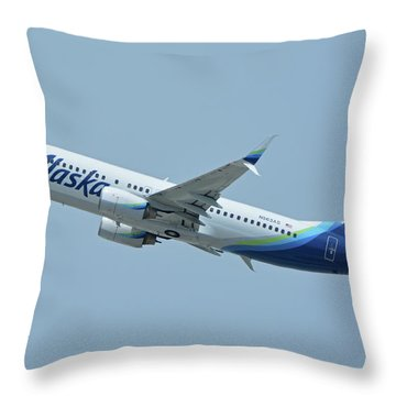 Throw Pillow featuring the photograph Alaska Boeing 737-890 N563as Los Angeles International Airport May 3 2016 by Brian Lockett