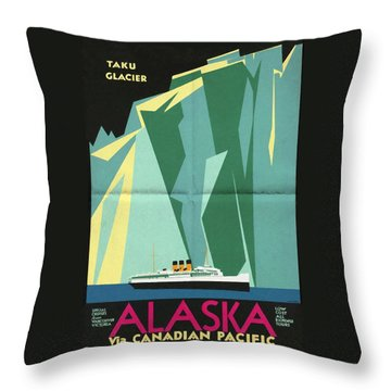 Alaska Canadian Pacific - Vintage Poster Folded Throw Pillow