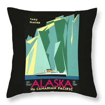 Alaska Canadian Pacific - Vintage Poster Restored Throw Pillow