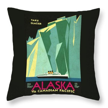 Alaska Canadian Pacific - Vintage Poster Vintagelized Throw Pillow