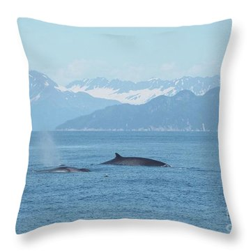 Alaska Finback Whales Throw Pillow