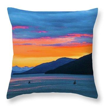 Alaska Fishermans Sunset Throw Pillow