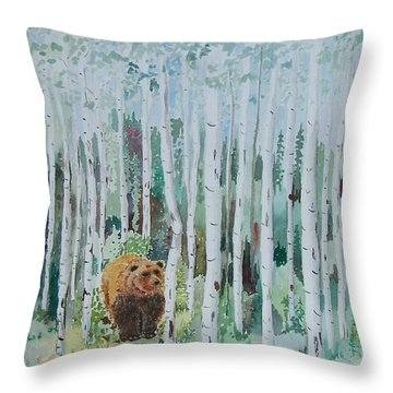 Alaska -  Grizzly In Woods Throw Pillow