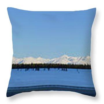 Alaska Highway Panorama Throw Pillow