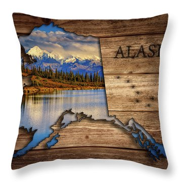 Alaska Map Collage Throw Pillow