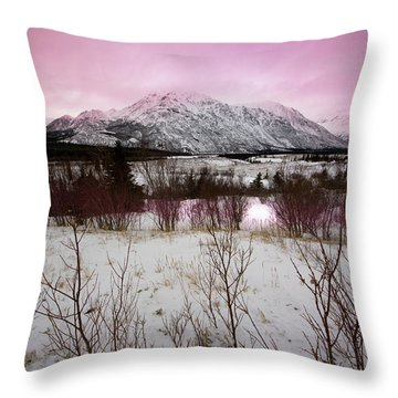 Alaska Range Pink Sky Throw Pillow