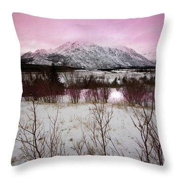 Alaska Range Pink Sky Throw Pillow