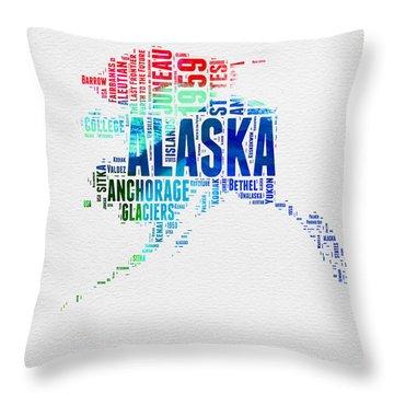 Alaska Watercolor Word Cloud  Throw Pillow