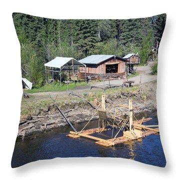 Alaskan Fishing Camp Throw Pillow by Allan Levin