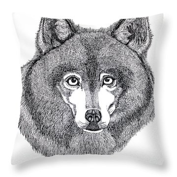 Alaskan Husky Throw Pillow by Nick Gustafson