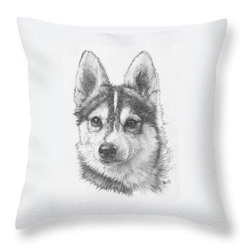 Alaskan Klee Kai Throw Pillow by Barbara Keith