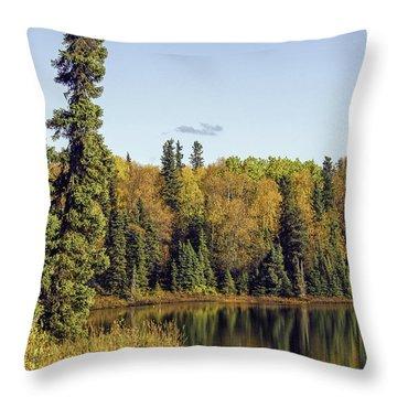 Alaskan Lake In Autumn Throw Pillow