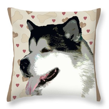 Alaskan Malamute Throw Pillow by One Rude Dawg Orcutt