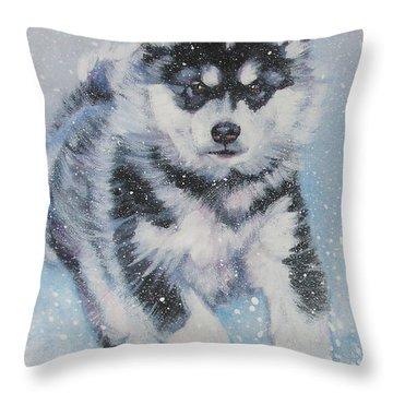 alaskan Malamute pup in snow Throw Pillow by Lee Ann Shepard