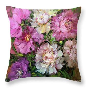 Alaskan Summer Peony Garden Throw Pillow
