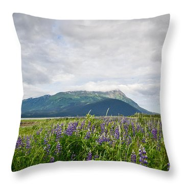 Alaskan Wildflowers Throw Pillow