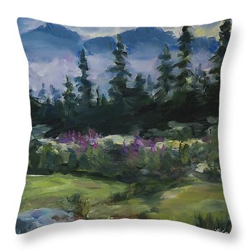 Throw Pillow featuring the painting Alaskan Woods by Yulia Kazansky
