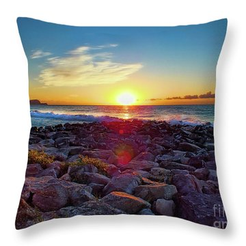 Alassio Sunset Throw Pillow by Karen Lewis