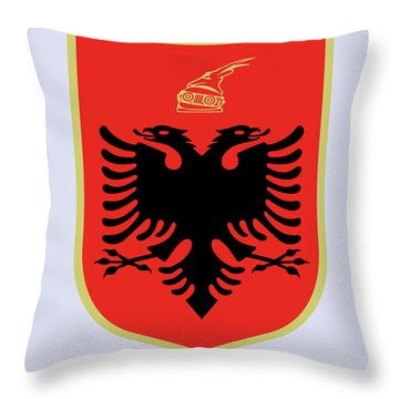 Throw Pillow featuring the drawing Albania Coat Of Arms by Movie Poster Prints