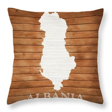 Albania Rustic Map On Wood Throw Pillow