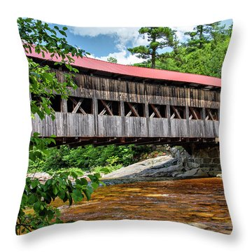 Throw Pillow featuring the photograph Albany Covered Bridge  by Betty Pauwels