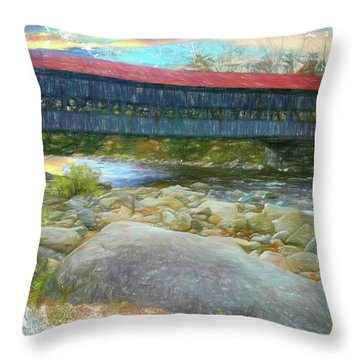Albany Covered Bridge Nh. Throw Pillow