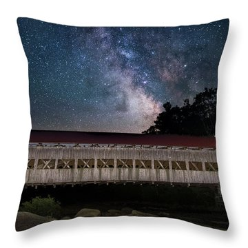 Albany Covered Bridge Under The Milky Way Throw Pillow