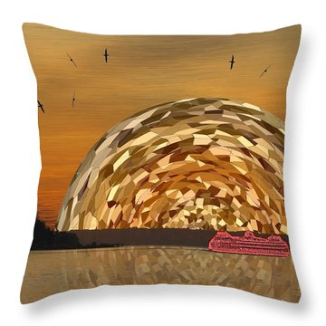 Albatross Setting Throw Pillow by Tim Allen