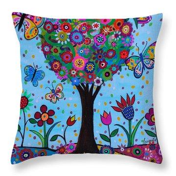 Throw Pillow featuring the painting Albero Della Vita by Pristine Cartera Turkus