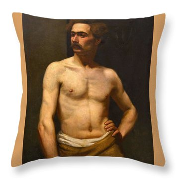 Albert Edelfelt Male Model Throw Pillow