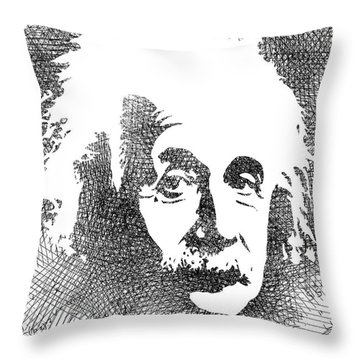 Albert Einstein Bw  Throw Pillow by Mihaela Pater