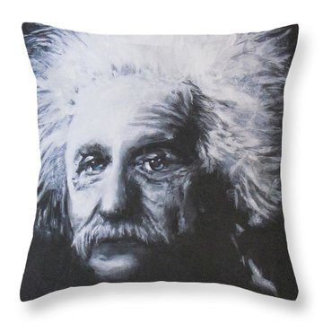 Throw Pillow featuring the painting Albert Einstein by Eric Dee